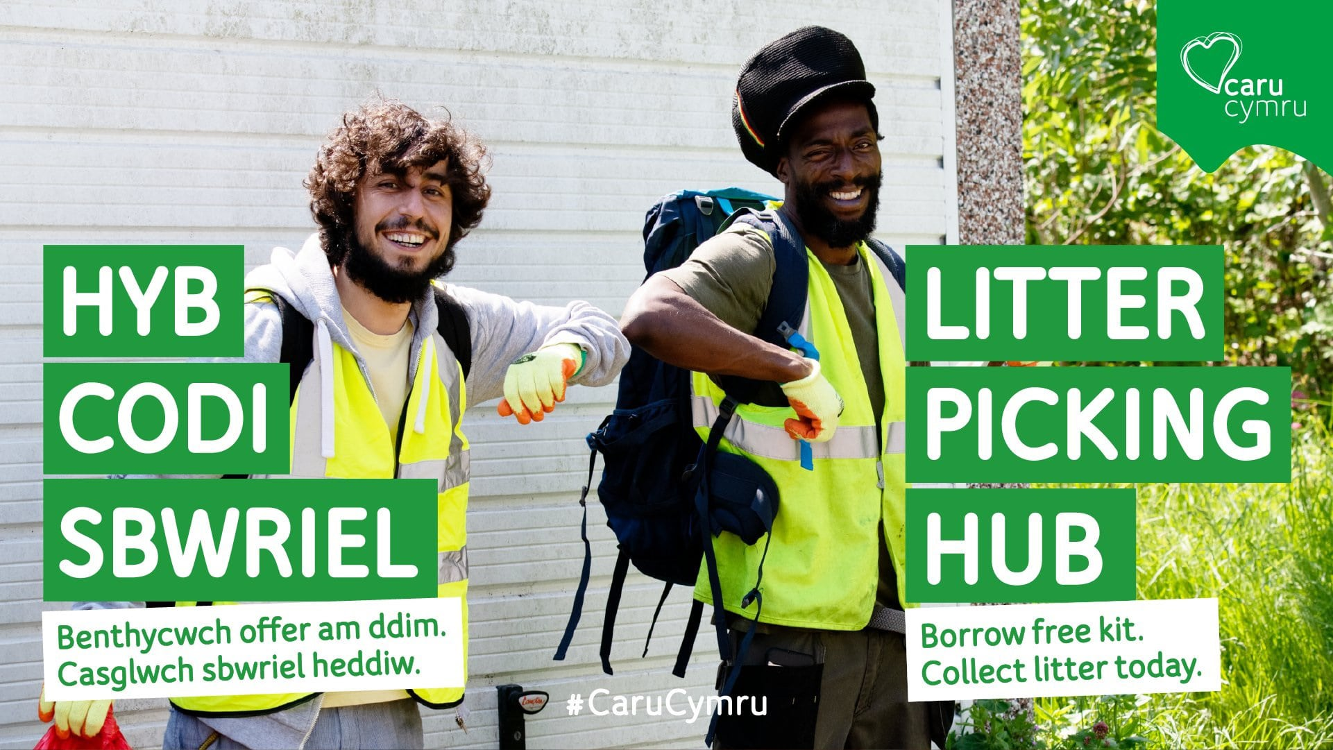 Two people standing outside litter picking hub in Anglesey